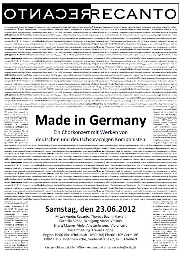 Made in Germany - Konzertplakat